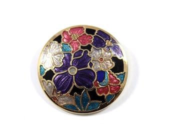Vintage round cloisonne brooch, round floral pin, cloisonne pin, purple flower pin, enamel, flower pin brooch, flower pin, blue pink black
