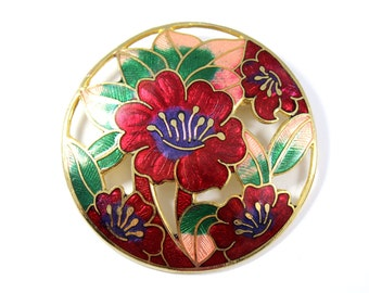 Vintage large cloisonne brooch, round floral pin, cloisonne pin, red flower pin, enamel, oval pin brooch, flower pin, green pink red