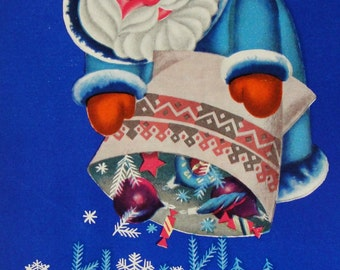 Happy New Year! Vintage Soviet Postcard. Illustrator Goncharov - 1970. Mystetstvo, Kiev. Santa Claus, Father Frost, Snowflakes, Toys, Blue