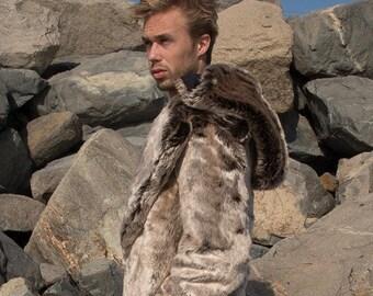 """Burning Man Men's Faux Fur Men's """"Vandal"""" coat with zip off hood in """"Phoenix"""""""