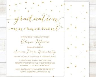graduation announcement, printable graduation announcement, university college or high school graduation announcement