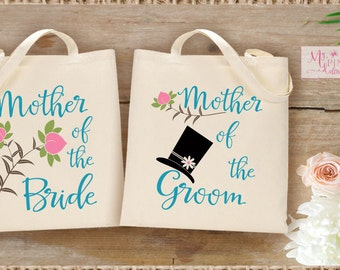 Mother of the Bride and Mother of the Groom SET  Wedding Tote Bags / Wedding Flower and Hat  Totes