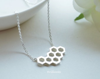 Honeycomb pendant necklace in silver, Honey comb, Bee hive necklace, Bridesmaid jewelry, Everyday necklace, Wedding necklace