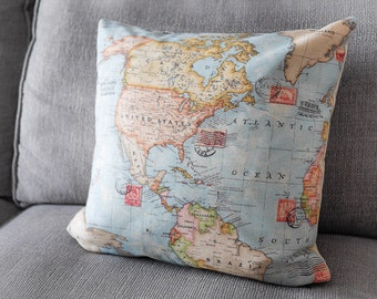 Earth Map Cushion; home decor, vanlife, wanderlust, travel, explore, adventure, for him, cartography, spring, atlas, pillow, fathers day