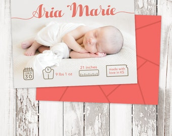 Birth Announcement - BABY GIRL - Simple - Printable - Personalized - 5x7