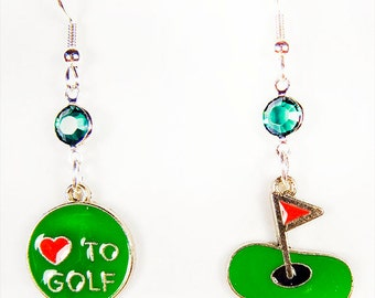 GOLF EARRINGS, golf jewelry, golf charms, golf, enamel charms, hole and flag charm, Luv 2 golf charm, sports charms, sports jewelry - 1325