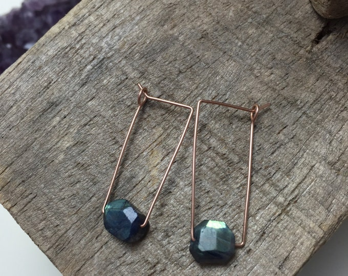 Blue Flash Labradorite Crystal Geometric Earrings, Rose Gold Fill Ear Wire, Modern 22g Ear Wire Rectangular Hoops