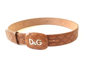Large DOLCE & GABBANA belt . Made in Italy . Quilted brown cognac leather .