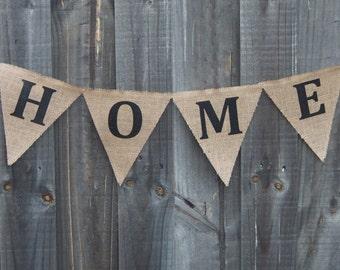 Customisable Burlap / Hessian HOME banner.
