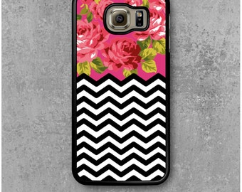 Samsung Galaxy S6 Case Chevron-Patterned Pink Flowers
