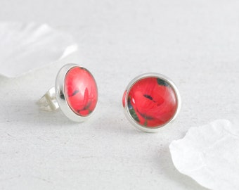 Poppy Earrings, Flower Earrings, Poppy Studs, Red Poppy Earrings, Poppy Jewelry, Floral Earrings, Floral Jewelry, Summer Jewelry
