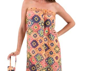 Spirituelle Cotton Beach Dress or Sarong with Matching Carry Bag - Tangerine Aztec