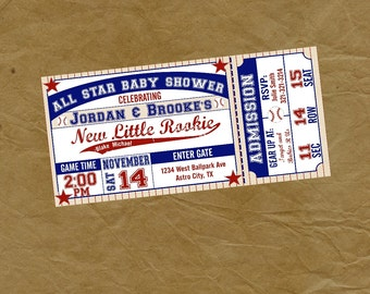 Baseball Ticket Baby Shower  Party Invitation Digital or Printed