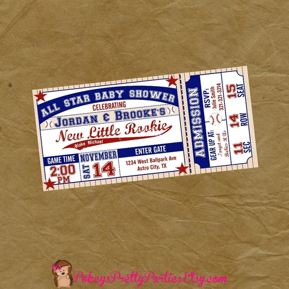 baseball ticket baby shower party invitation digital or
