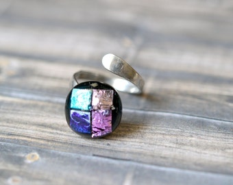 Sterling Silver Dichroic Art Glass Wrap Bypass Ring