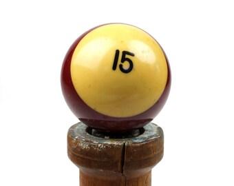 "15 Old Phenolic Resin Billiard Ball Size 2.25"" Pocket Balls Fifteen XV Maroon Burgundy Pool Stripes Striped Stripe"