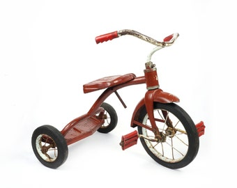 Vintage Children Tricycle Bike Old Metal Bicycle Red Paint Modern Industrial Design