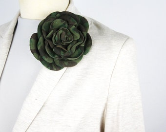 Leather Brooch/Flower Leather Brooch/Rose Leather Brooch/ Camouflage Leather Pin/Military Green Suede Brooch – Rose03