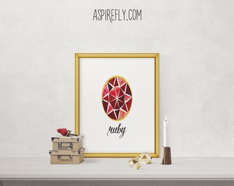Ruby stone July birthstone wall art home decor printable gemstone art birthday gift birthday present INSTANT DOWNLOAD printable art rubies