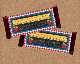 Back to School Chocolate Bar Wrapper. This School Year Is Going To Rule for Teacher and Class. Instant Digital Download. Teacher Gift.