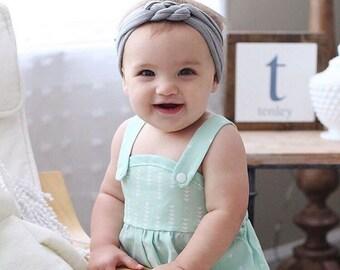 Gray Sailor knot Headband,  jersey knit headband, infant headband, baby girl gift