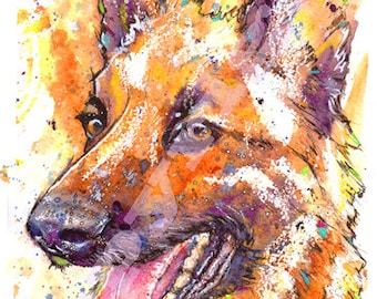 GERMAN SHEPHERD PRINT Pacture Alsatian Dog Painting of Original Watercolour Painting Watercolor Animal Hound Puppy Picture Art by Josie P.