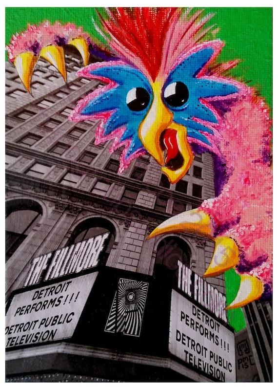 "Detroit Kaiju Glam Rock Monster 5x7 Print ""Glamoura Starts the Show!"" Original Art by Pete Coe Fillmore Detroit Performs Muppet"