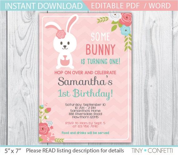 bunny invitation bunny birthday invitation easter bunny