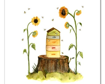 Beehive Watercolor Art Print on sale 50% 0ff , Beekeeping Wall Art, Apiary Art, Sunflowers, Bee Hive, Home Decor by Little Truths Studio
