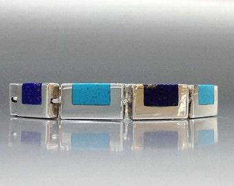 Bracelet Lapis Lazuli and Turquoise bracelet - inlay work - gift idea