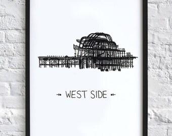 West Side  -  Brighton Pier print