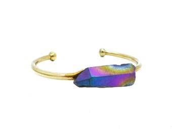 Quartz Cuff, Aura Quartz Bracelet