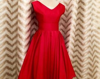Ruby Red Wedding Dress ,1950s prom dress,50s bridesmaid dress, party dress, pinup tea party dress, graduation