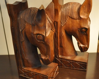 Hand-carved Horse Head Bookends