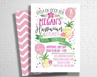 Pineapple Birthday Invitation, Luau Invitation, Hawaiian Birthday Invite, Hawaiian Luau Party Invitation, Tropical invite, DIGITAL FILE ONLY