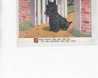 PM 1934 Engaging Scottie Dog Scottish Terrier Sits At Open Gate With Sweet Poem-Postcard