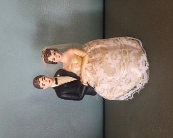 1950s vintage wedding cake bride & groom figure topper
