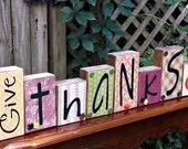 Give Thanks Word Block Sign - Thanksgiving and Fall Decor -Handmade - Solid Wood - Shelf Sitters - FAAP, OFG Team, HAFAIR, TeamHaHa