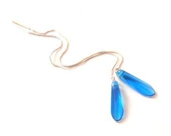 Blue Dangle Earrings, Ear Thread Earrings, Sterling Silver Threader Earrings, Long Chain Earrings, Glass Beaded Earrings, Blue Drop Earrings