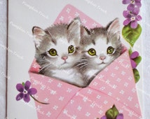 Vintage Birthday Card - Marjorie Cooper Kittens and Violets - Used Rust Craft