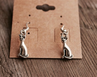 Cute kitty cat dangle silver earrings