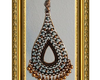 Ceiling Fan Pull Chain / Home Decor - Light Blue & Gold Beaded Pull Chsin - Gold Chain