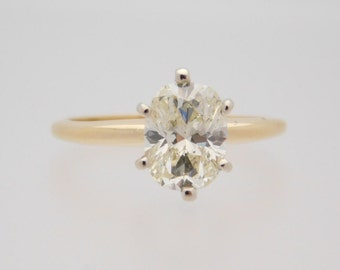 1.62 Carat Oval Cut Diamond Solitaire Engagement Ring 14K Yellow Gold