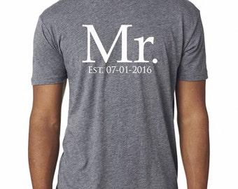MR EST shirt, Mr shirt, groom gift, wedding gift for him, Mr and Mrs, Mr gift, custom groom gift, bridal shower, wedding gift