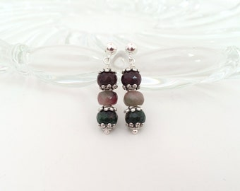 Gemstone earrings. Pink stone, green stone beads. Post earrings. Watermelon pink jade bead earrings. Stone earings. Silver drop earrings.