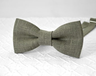 Grey bow tie, dark grey bow tie, grey wedding linen bow tie, rustic grey bow tie, bow tie for men, groomsmen bow tie, mens bow tie