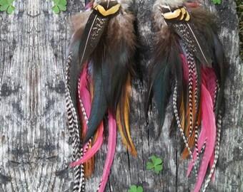long feather earrings, Natural feather earrings, red feather earrings, fire feather earrings, boho earrings, festival, bohemian, gypsy,
