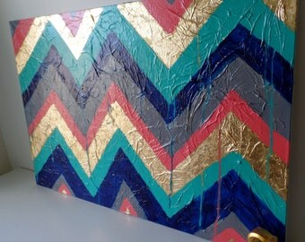 Abstract Chevron Acrylic Painting Art on Canvas, Gold Leaf, Blue, Coral, Teal, Grey/Gray, Home Decor, Wall Hanging, Texture, Detail, Custom