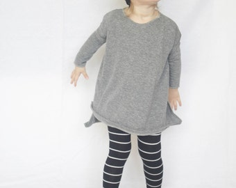 Baby Oversized Tee, Side Slit tee, Modern Baby Clothing, Grey Tee