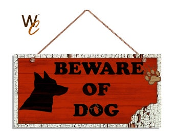 "ON SALE Beware of Dog Sign, Red Rustic Decor, Dog Bite Sign, Distressed Wood Sign, Dog Silhouette, Weatherproof, 5"" x 10"" Sign, Made To Orde"